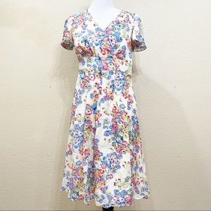 Boden Faux Wrap Front Floral Short Sleeve Dress 6
